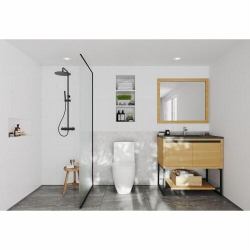 Alto 36 - California White Oak Cabinet + Matte Black VIVA Stone Solid Surface Countertop Perspective: top