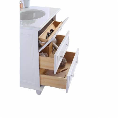 Luna - 30 - White Cabinet + Matte Black VIVA Stone Solid Surface Countertop Perspective: top
