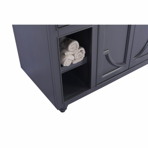 Odyssey - 48 - Maple Grey Cabinet + Matte Black VIVA Stone Solid Surface Countertop Perspective: top