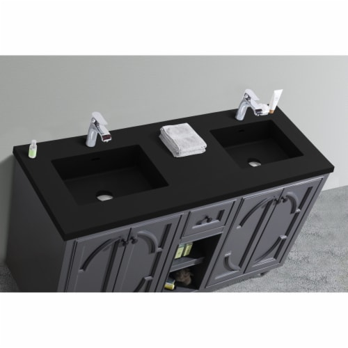Odyssey - 60 - Maple Grey Cabinet + Matte Black VIVA Stone Solid Surface Countertop Perspective: top