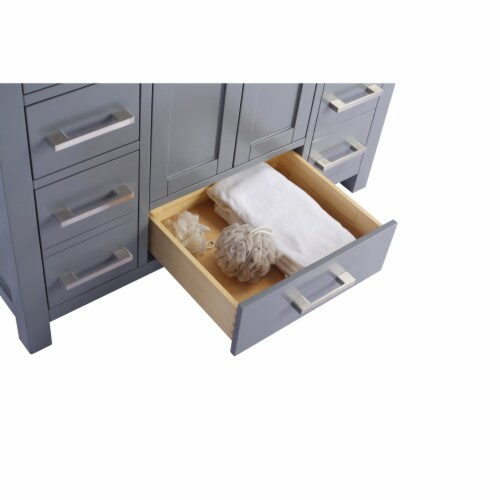 Wilson 42 - Grey Cabinet + Matte White VIVA Stone Solid Surface Countertop Perspective: top