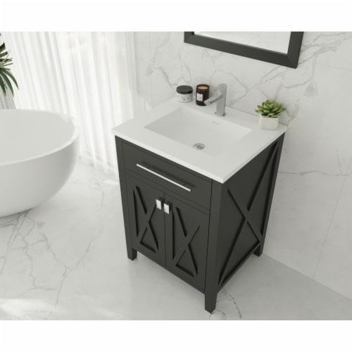 Wimbledon - 24 - Espresso Cabinet + Matte White VIVA Stone Solid Surface Countertop Perspective: top