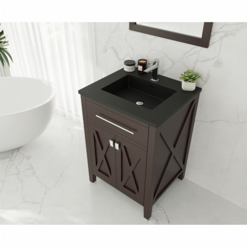 Wimbledon - 24 - Brown Cabinet + Matte Black VIVA Stone Solid Surface Countertop Perspective: top
