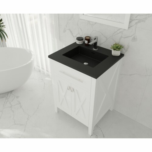 Wimbledon - 24 - White Cabinet + Matte Black VIVA Stone Solid Surface Countertop Perspective: top