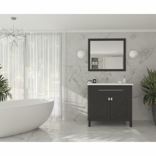 Wimbledon - 36 - Espresso Cabinet + Matte White VIVA Stone Solid Surface Countertop Perspective: top