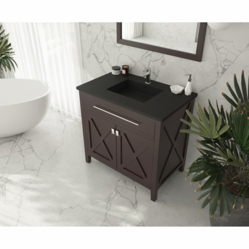 Wimbledon - 36 - Brown Cabinet + Matte Black VIVA Stone Solid Surface Countertop Perspective: top