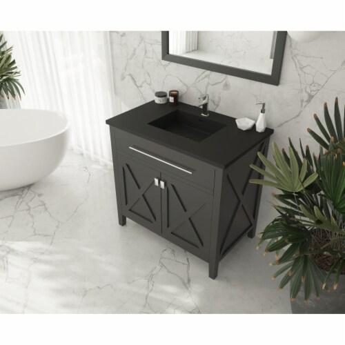 Wimbledon - 36 - Espresso Cabinet + Matte Black VIVA Stone Solid Surface Countertop Perspective: top
