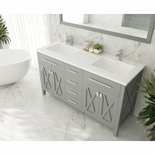 Wimbledon - 60 - Grey Cabinet + Matte White VIVA Stone Solid Surface Countertop Perspective: top