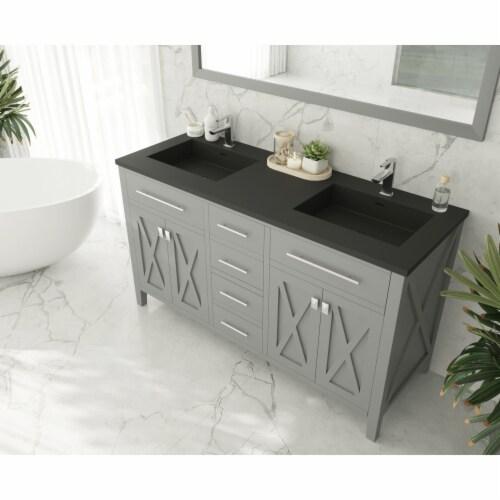 Wimbledon - 60 - Grey Cabinet + Matte Black VIVA Stone Solid Surface Countertop Perspective: top