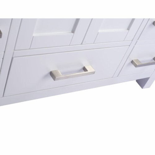 Wilson 42 - White Cabinet + Matte White VIVA Stone Solid Surface Countertop Perspective: top