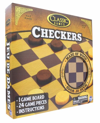 Classic Games Wood Checkers Set | Board & 25 Game Pieces Perspective: top