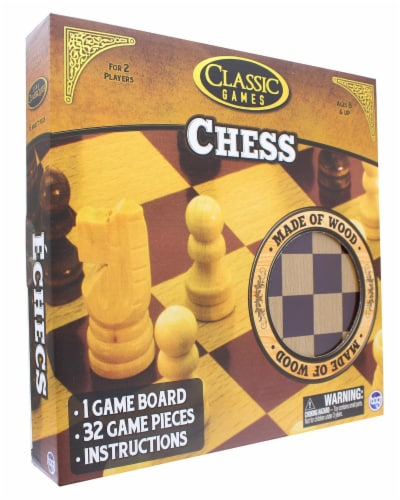 Classic Games Wood Chess Set | Board & 32 Game Pieces Perspective: top