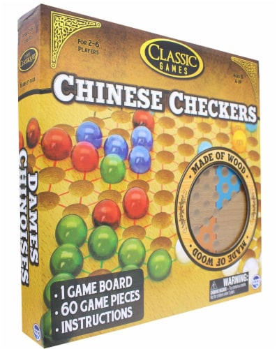 Classic Games Wood Chinese Checkers Set | Board & 60 Game Pieces Perspective: top