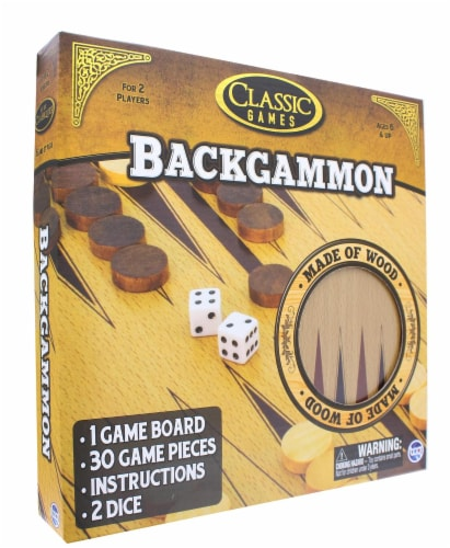 Classic Games Wood Backgammon Set | Board & 30 Game Pieces Perspective: top