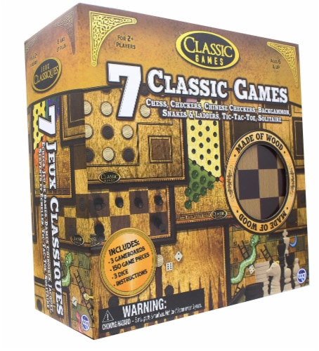 Classic Games Wood 7 Classic Games Set | 3 Boards & 150 Game Pieces Perspective: top