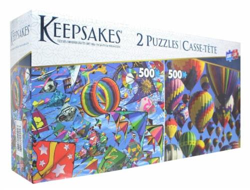 Set of 2 Keepsakes 500 Piece Jigsaw Puzzles   Balloons / Kites Perspective: top