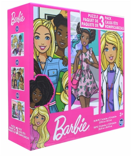 Barbie Jigsaw Puzzle 3 Pack |  24, 48, & 100 Pieces Perspective: top