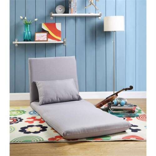 Relaxie Floor Chairs Gray Linen Sleeper Dorm Bed Couch Lounger Sofa Perspective: top