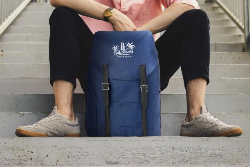 Marin Collection Backpack Blue, Bag exterior is made from 16 recycled bottles Perspective: top