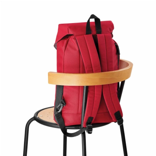 Marin Collection Backpack Red, Bag exterior is made from 16 recycled bottles Perspective: top