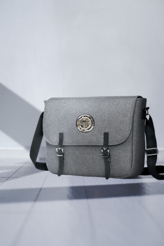Marin Collection Messenger Bag Grey Perspective: top
