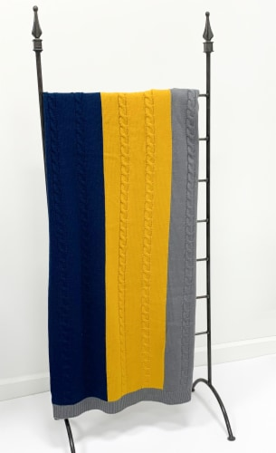 """Myne Throw Blanket Wide Stripe Design 50X60"""" Navy,Grey and Yellow Perspective: top"""