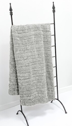 """Myne Throw Blanket Solid Grey Knit 50X60"""" Perspective: top"""