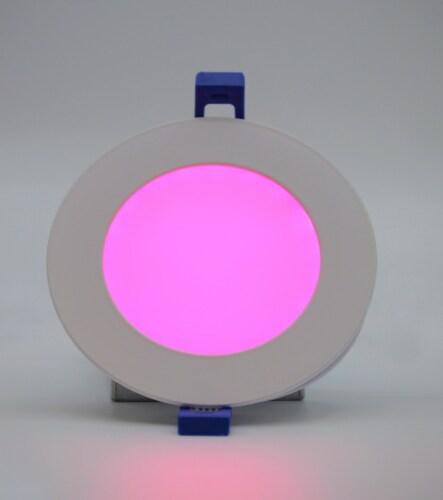 "LED RGB Round 4"" Bluetooth & WI-FI Control 10W 100-277VAC Perspective: top"