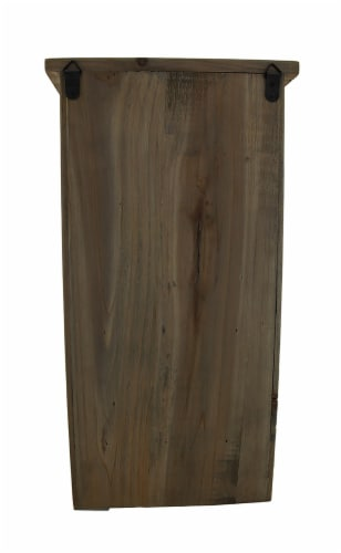 Rustic Reclaimed Wood Wall Cabinet w/Shelf and Hooks 20 in. Perspective: top