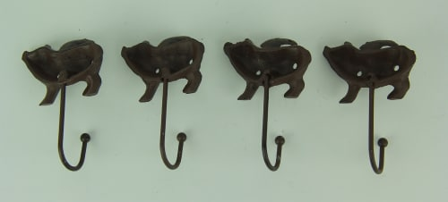 Set of 4 Flying Pig Rustic Finish Cast Iron Wall Hooks Perspective: top