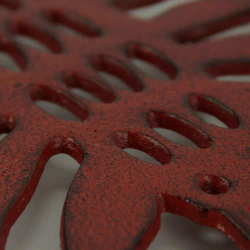 Distressed Red Cast Iron Lobster Shaped Trivet Set of 2 Perspective: top