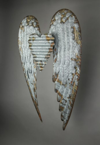 Galvanized Metal Winged Heart Wall Sculpture Perspective: top