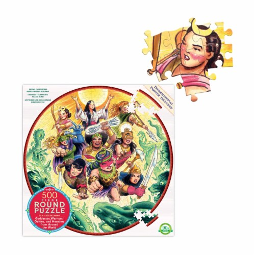 eeBoo Goddesses and Warriors Round Puzzle Perspective: top