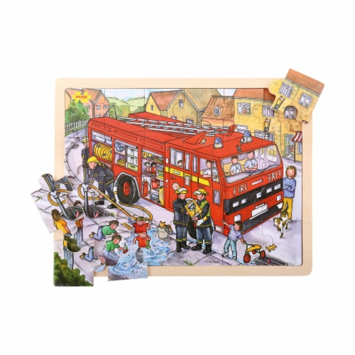 Bigjigs Toys Wooden Fire Engine Tray Puzzle Perspective: top