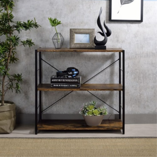 Ergode Bookshelf Weathered Oak & Black Finish Perspective: top