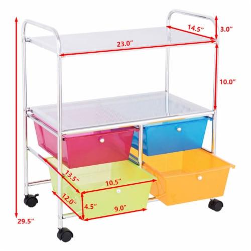 Costway 4 Multifunctional Drawers Rolling Storage Cart Rack Shelves Shelf Home Office Perspective: top