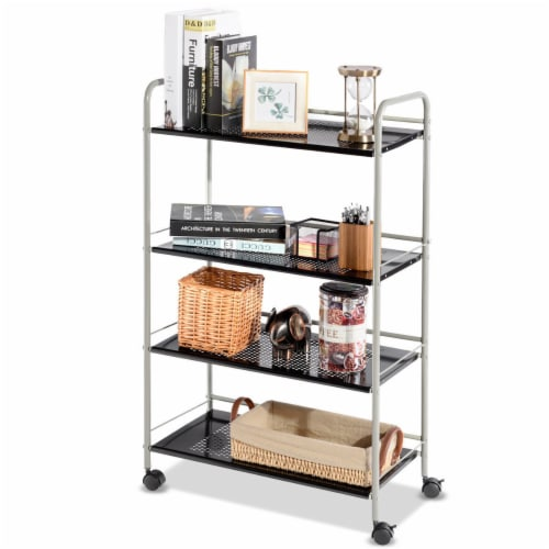 Costway 4 Tiers Rolling Storage Cart Utility Trolley Organizer Kitchen Multifunction Perspective: top