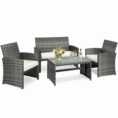 Costway 4 Pc Rattan Patio Furniture Set Garden Lawn Sofa Cushioned Seat Mix Gray Wicker Perspective: top