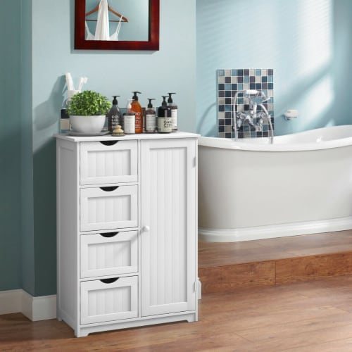 Costway Wooden 4 Drawer Bathroom Cabinet Storage Cupboard 2 Shelves Free Standing White Perspective: top