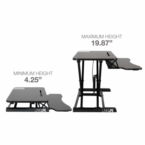 Happy Living Sit To Stand Desk Workstation - Black Perspective: top