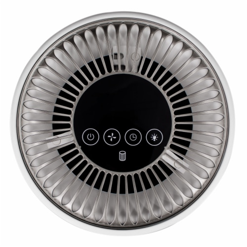 Happy Living True HEPA 360-Degree 4-Stage Filtration Air Purifier - Silver Perspective: top