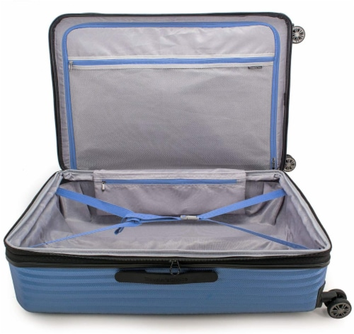 Traveler's Choice Dana Point Expandable Hard-Shell Luggage Set with USB Port - Blue Perspective: top