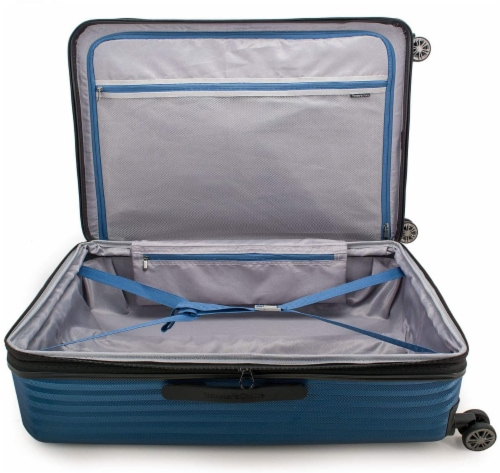 Traveler's Choice Dana Point Expandable Hard-Shell Luggage Set with USB Port - Navy Perspective: top