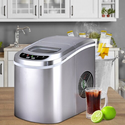 Costway Sliver Portable Compact Electric Ice Maker Machine Mini Cube 26lb/Day Perspective: top