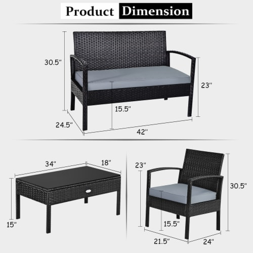 Costway 4PCS Outdoor Patio Rattan Furniture Set Cushioned Sofa Coffee Table Garden Deck Perspective: top