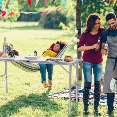 Costway 8FT Aluminum Folding Picnic Camping Table Lightweight In/Outdoor Garden Party Perspective: top