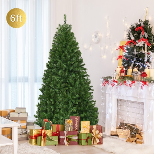 Costway 6Ft Pre-Lit Artificial Christmas Tree Hinged 350 LED Lights Perspective: top