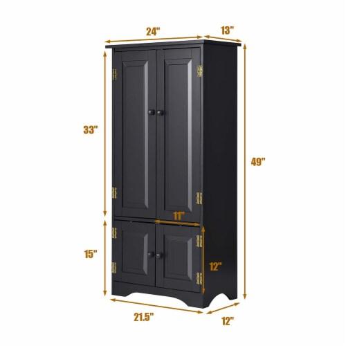 Costway Accent Storage Cabinet Adjustable Shelves Antique 2 Door Floor Cabinet Black Perspective: top