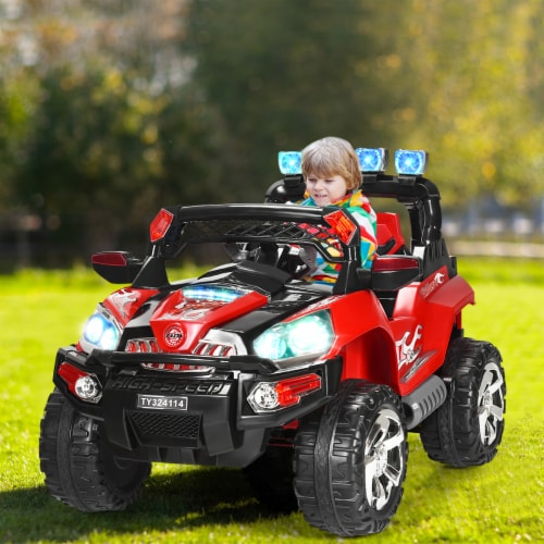 Costway 12V Kids Ride On Truck Car SUV MP3 RC Remote Control w/ LED Lights Music Perspective: top