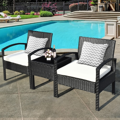 Costway 3PCS Patio Rattan Furniture Set Table & Chairs Set with Coushions Outdoor Perspective: top